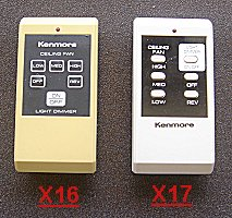 ceiling fans remote contols - transmitter  X16